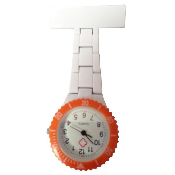 montre swatch infirmi re blanche cadre orange sabotland. Black Bedroom Furniture Sets. Home Design Ideas